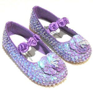 NEW Girls Lavender Sparkly Sequin Shoes 1 2 4 5 12